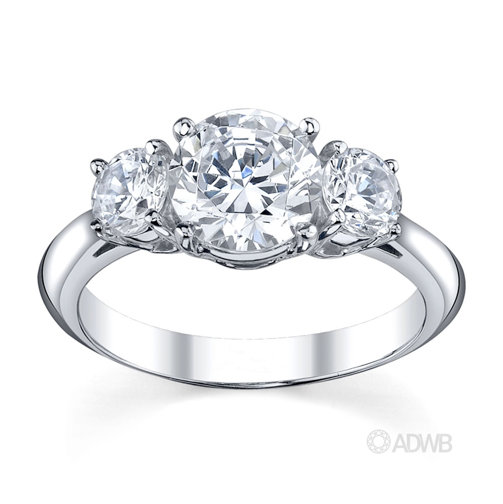 Australian Diamond Broker - Traditional 3 stone round brilliant cut diamond ring