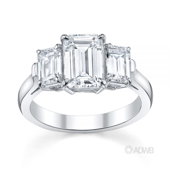 Australian Diamond Broker - Emerald cut 3 stone diamond ring