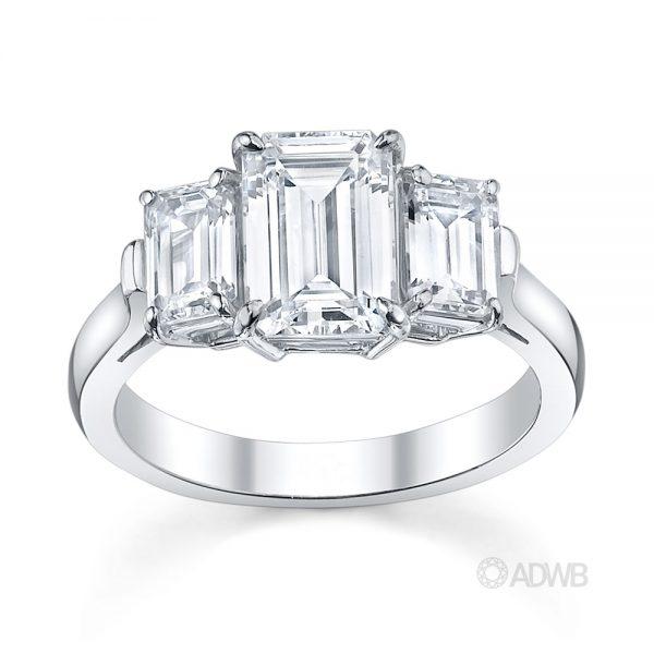 Australian Diamond Broker - Emerald cut 3 stone diamond ring
