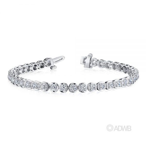 Australian Diamond Broker - 18ct white gold bezel set round brilliant cut diamond tennis bracelet