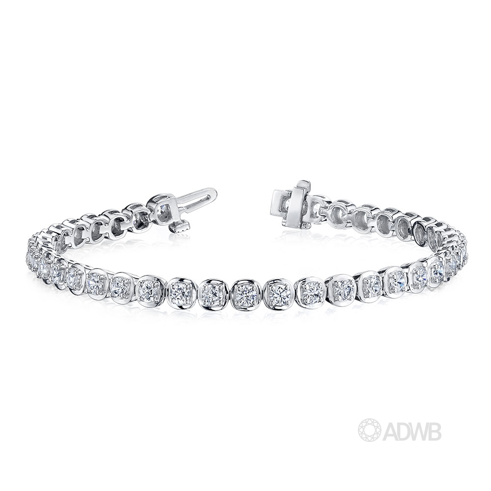 Australian Diamond Broker - 18ct white gold bezel set round brilliant cut diamond tennis bracelet