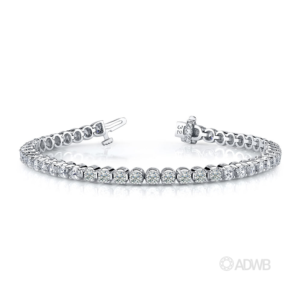 Australian Diamond Broker - 18ct white gold 4 claw round brilliant cut diamond tennis bracelet