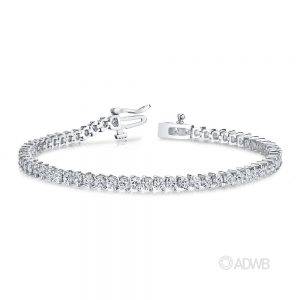 Australian Diamond Broker - 18ct white gold 2 claw round brilliant cut diamond tennis bracelet