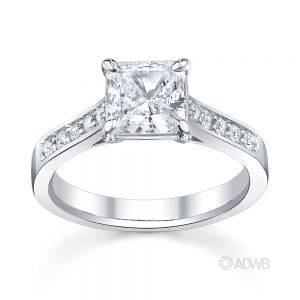 Engagement Rings - Fancy cut diamond solitaire ring with side diamonds