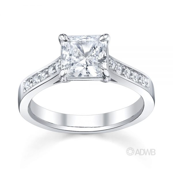 Australian Diamond Broker - Classic Princess cut diamond ring-grain set diamond band