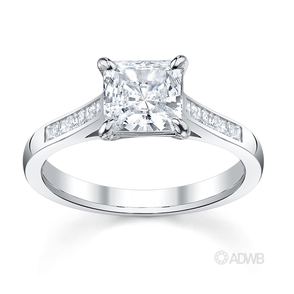 Australian Diamond Broker - Classic Princess cut diamond ring with channel set diamond band