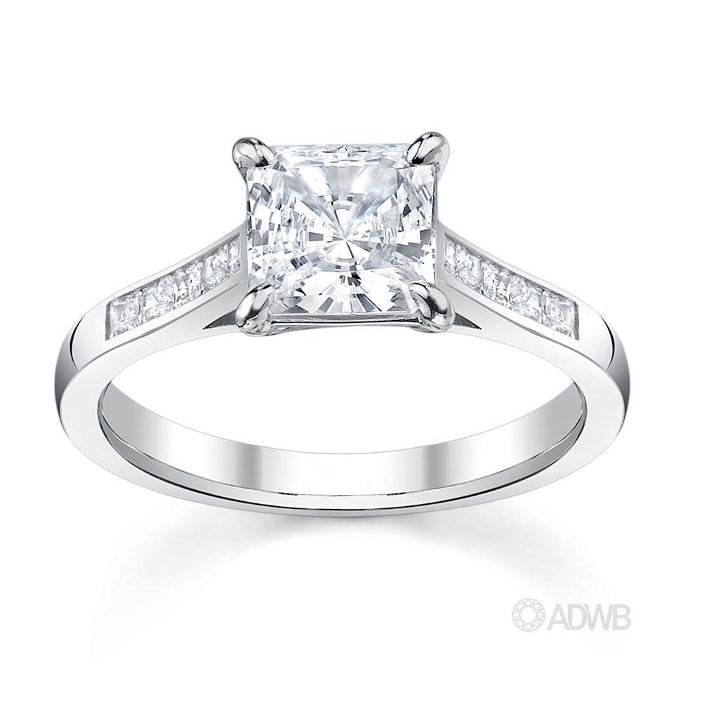 Australian Diamond Broker - Classic Princess cut diamond ring with channel set diamond band