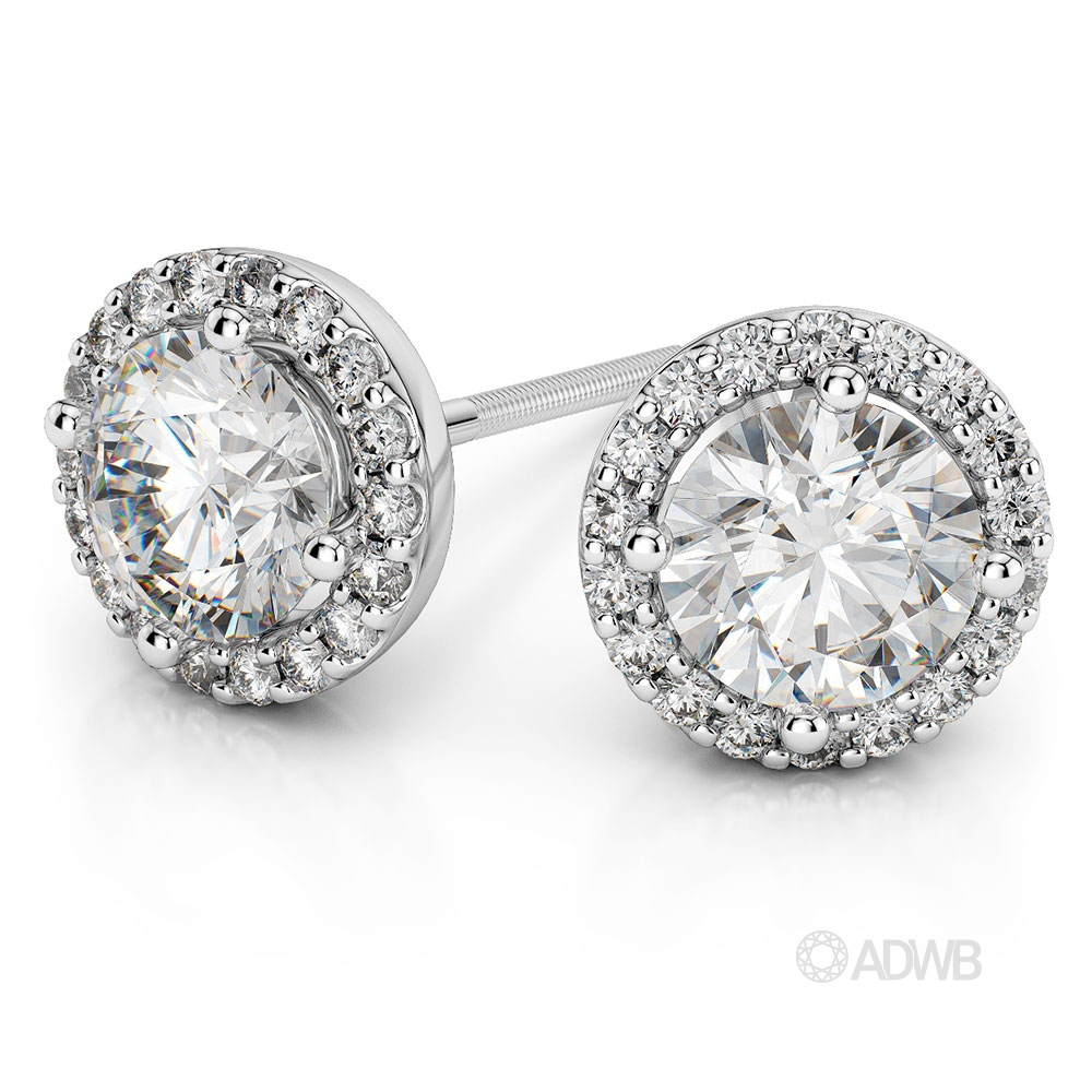 Australian Diamond Broker - Halo Round brilliant cut diamond earrings