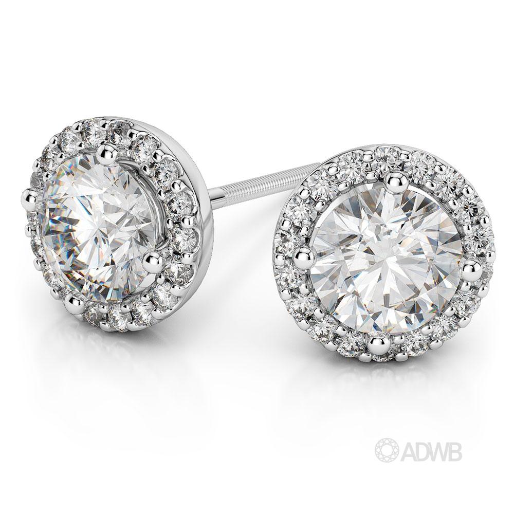 Australian Diamond Broker - Halo Round brilliant cut diamond earrings