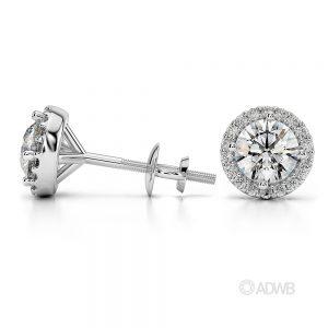 Halo diamond earrings 1carat white gold