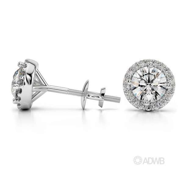 Halo diamond earrings 1carat white gold