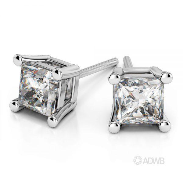 Australian Diamond Broker - Princess diamond stud 4 claw earrings