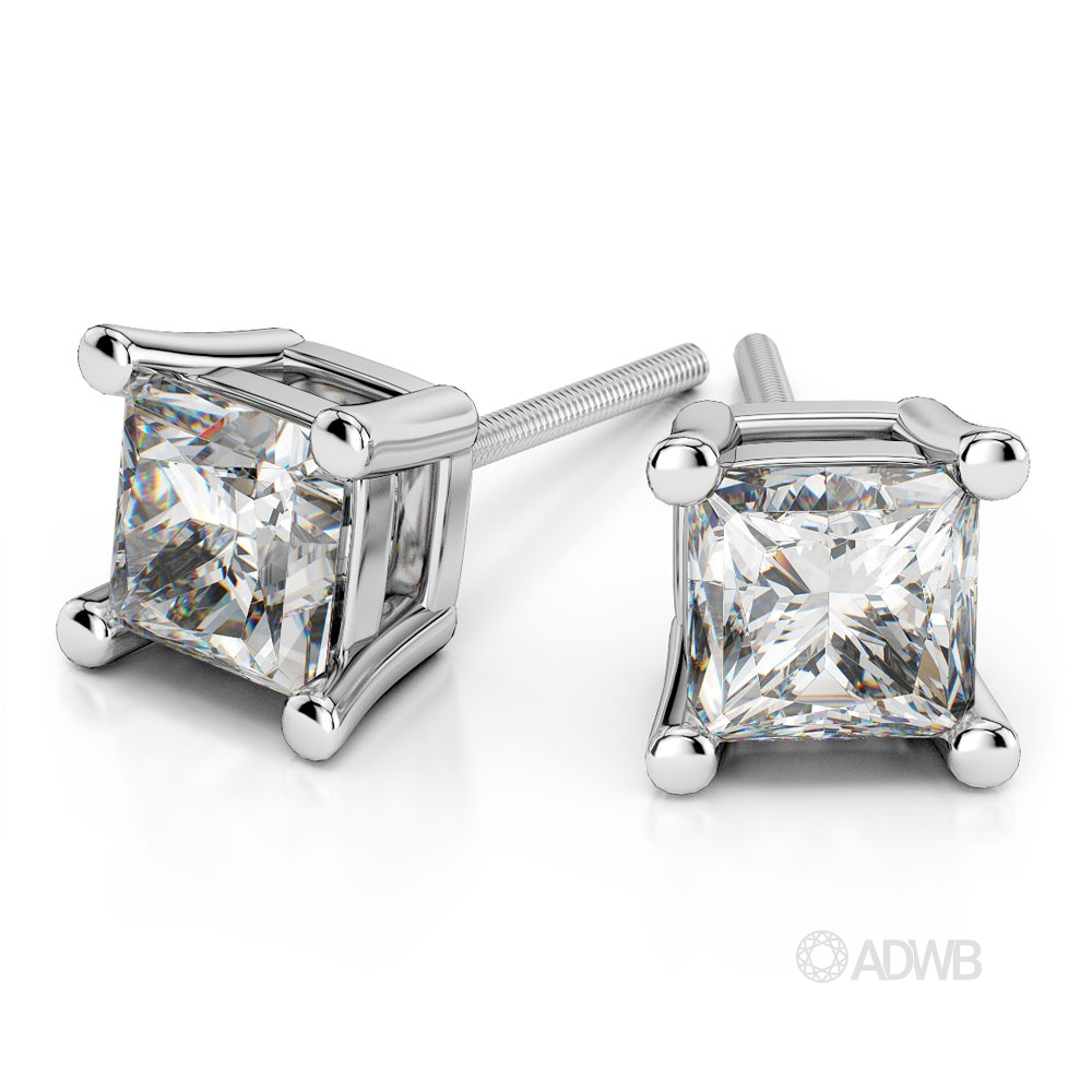 Australian Diamond Broker - Princess diamond stud 4 claw earrings