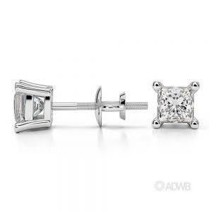 Princess diamond stud-earrings 75 carat white gold