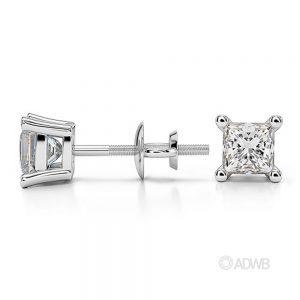 Princess diamond stud-earrings 75 carat white gold