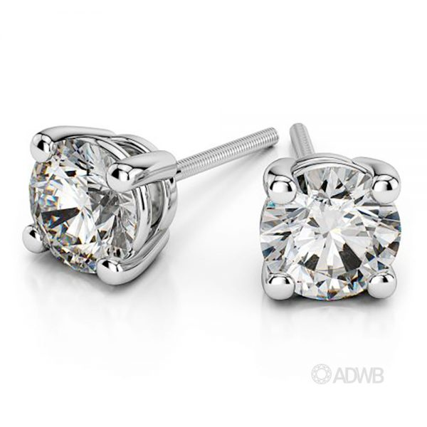 Australian Diamond Broker - Round brilliant cut diamond 4 claw earrings