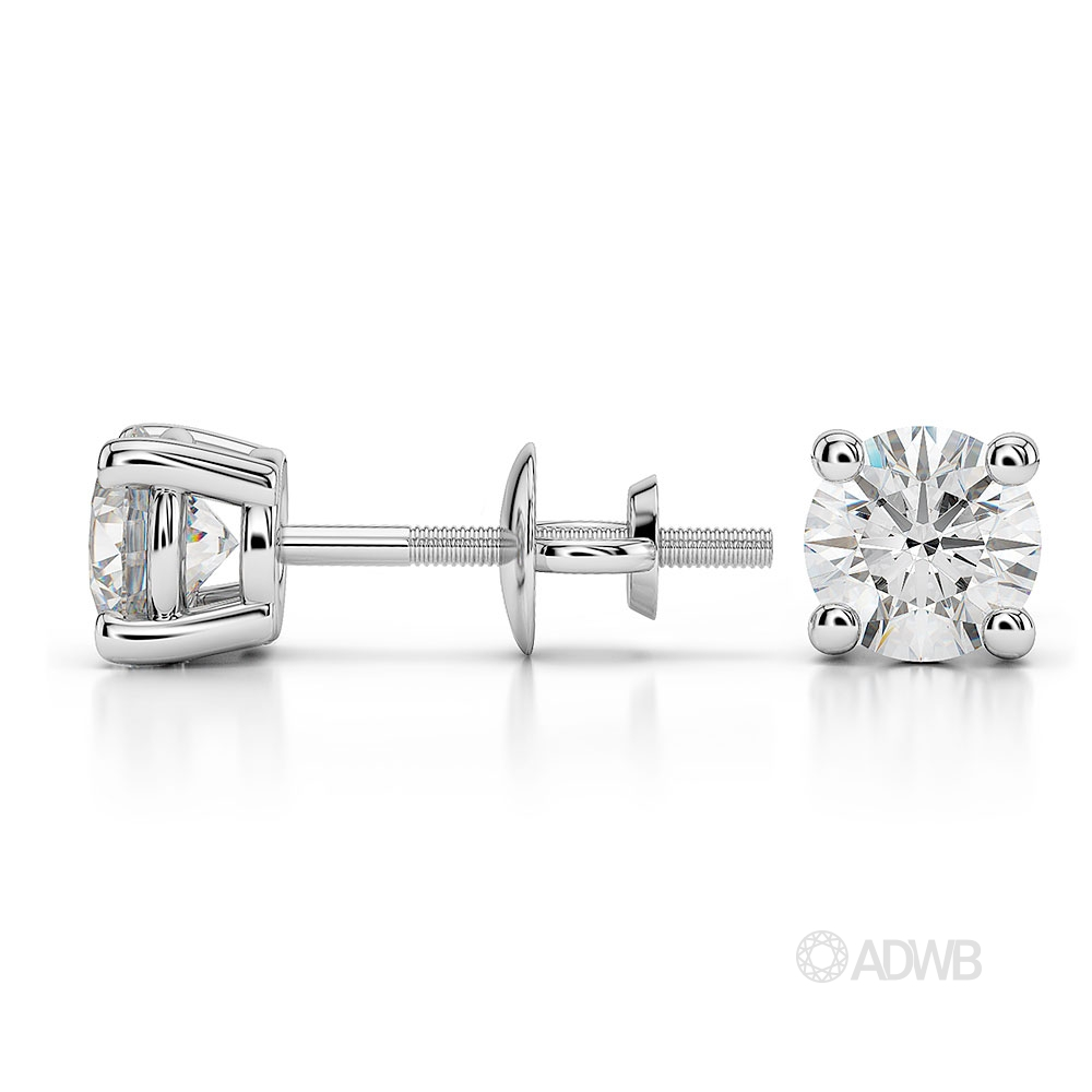 Round diamond stud earrings 1 carat white gold