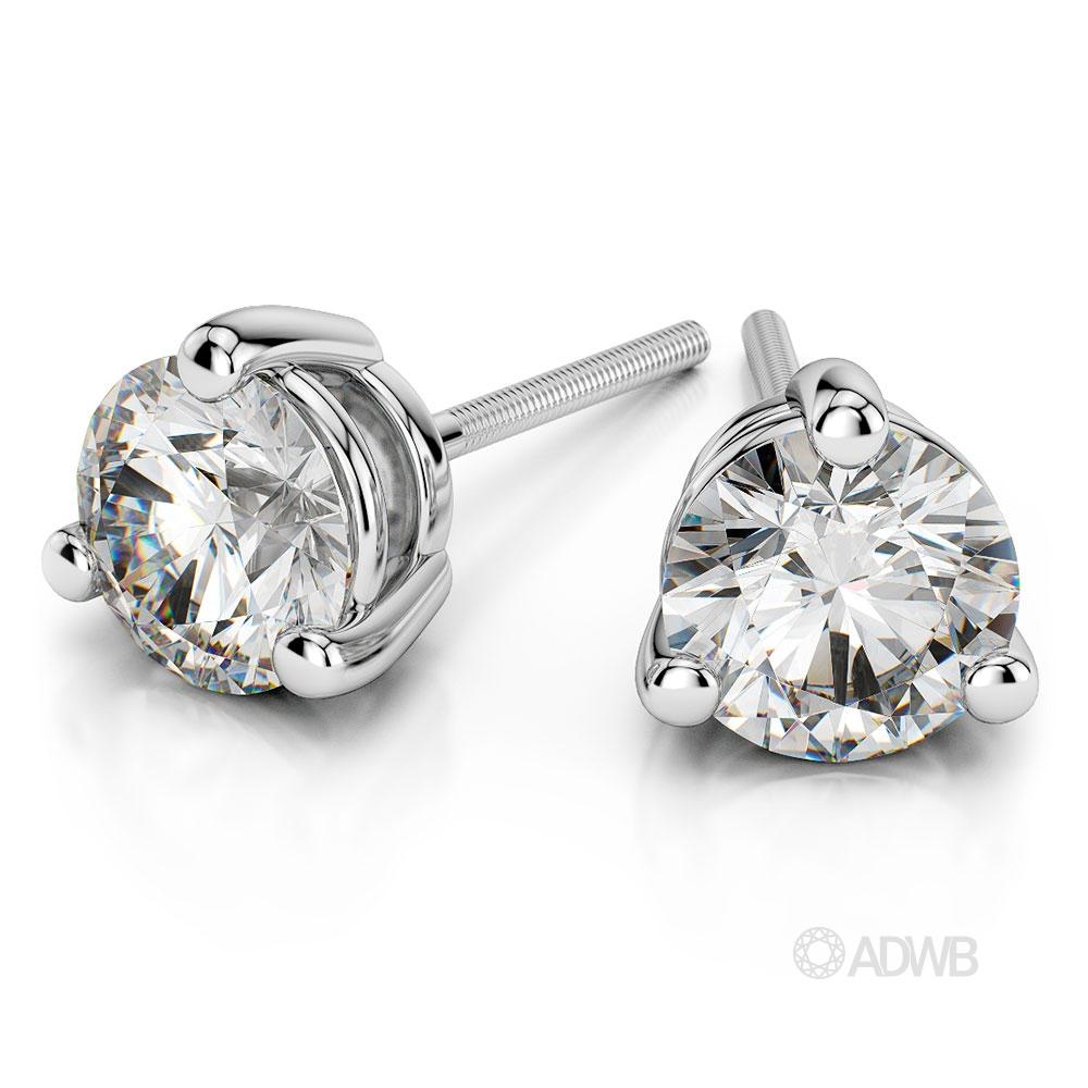 Australian Diamond Broker - Three claw diamond stud earrings