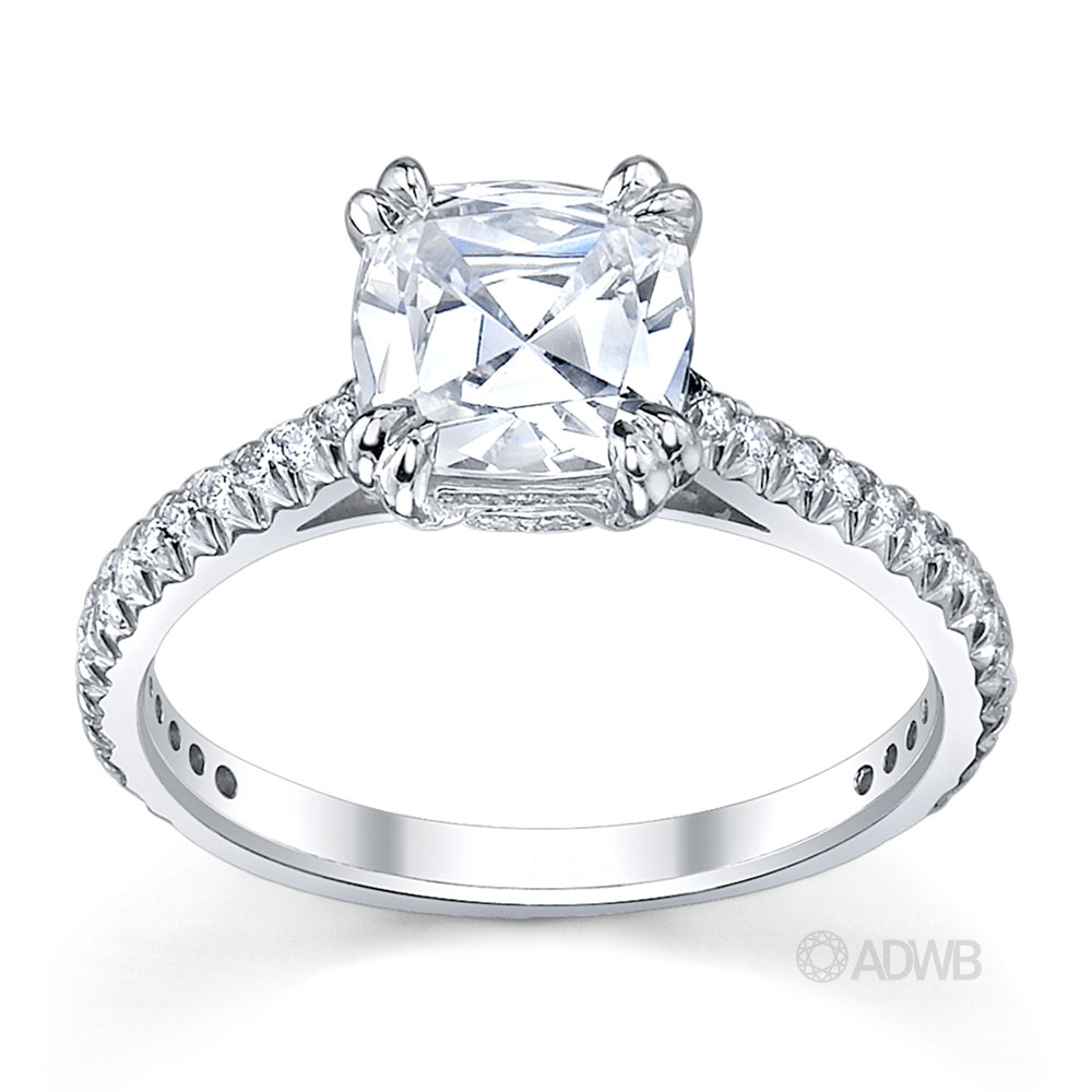 Australian Diamond Broker - Corsica round brilliant cut ring with french diamond pave set band
