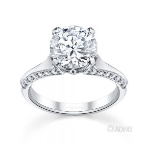 Australian Diamond Broker - Ashley round brilliant cut diamond solitaire ring with grain set diamond band