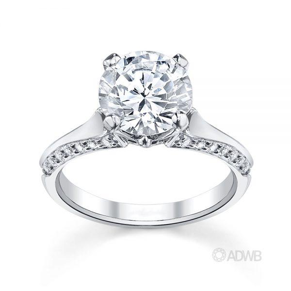 Australian Diamond Broker - Ashley round brilliant cut diamond solitaire ring with grain set diamond band