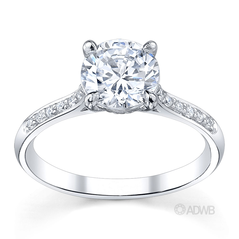 Australian Diamond Broker - Caroline 4 claw round brilliant cut diamond solitaire ring with grain set diamonds in the band