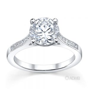Australian Diamond Broker - Traditional round brilliant cut diamond ring with grain set diamonds in the band