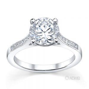 Australian Diamond Broker - Traditional round brilliant cut diamond ring with grain set diamonds in the band