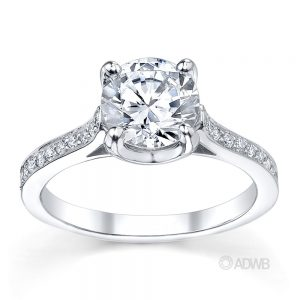 Australian Diamond Broker - Grace 4 claw round brilliant cut diamond solitaire ring with grain set side diamonds