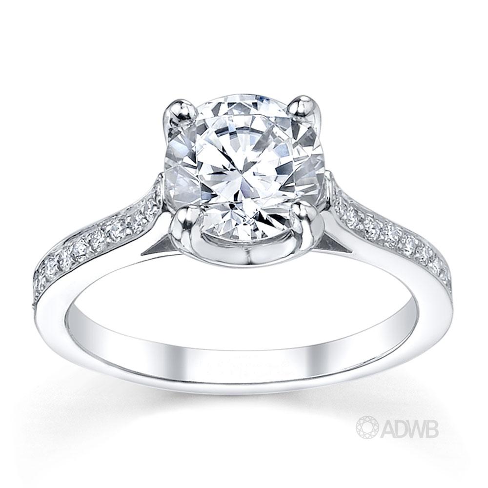 Australian Diamond Broker - Grace 4 claw round brilliant cut diamond solitaire ring with grain set side diamonds