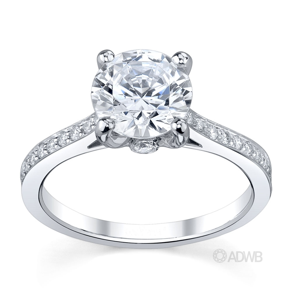 Australian Diamond Broker - Bell 4 claw round brilliant cut diamond solitaire ring with diamond set band