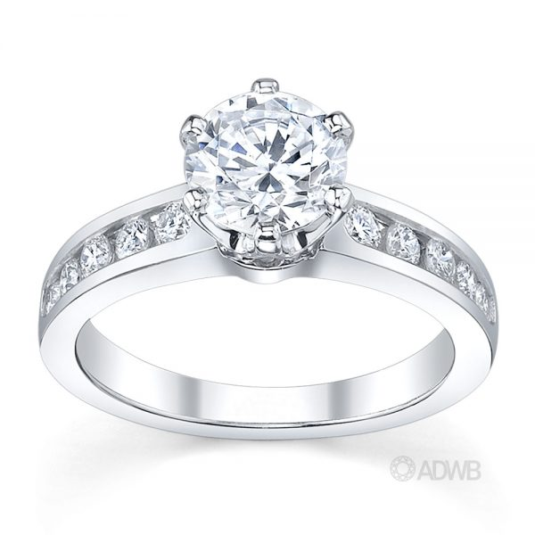 Australian Diamond Broker - Monica classic 6 claw round brilliant cut diamond ring with channel set band