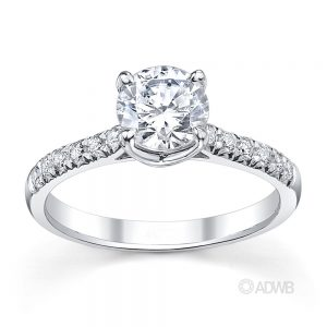 Australian Diamond Broker - Grace 4 claw round brilliant cut diamond solitaire ring with french pave set band
