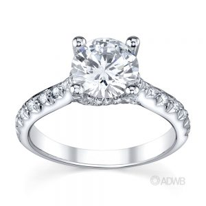 Australian Diamond Broker - Star 4 claw round brilliant cut diamond solitaire ring with micro pave set band