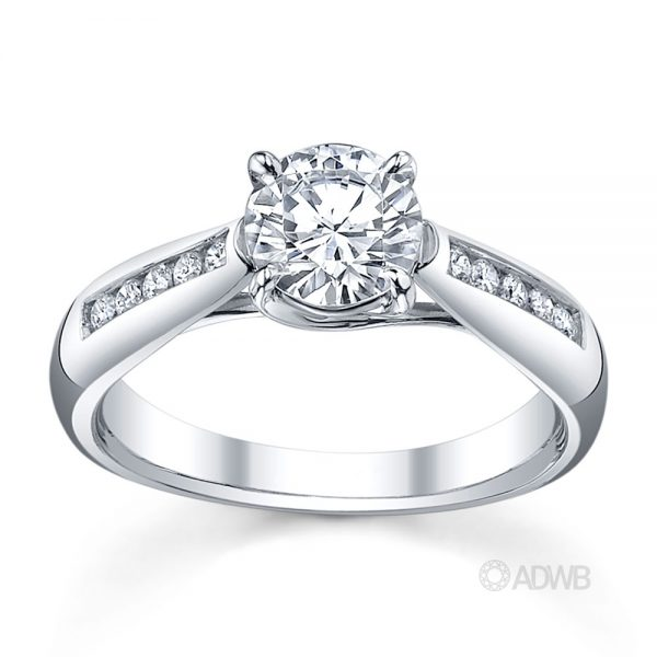 Australian Diamond Broker - Star 4 claw round brilliant cut diamond solitaire ring with channel set tapered band