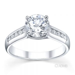 Australian Diamond Broker - Star 4 claw round brilliant cut diamond solitaire ring with channel set band