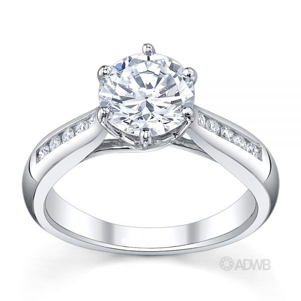 Australian Diamond Broker - Royal crown round brilliant cut diamond ring with tapered channel set band