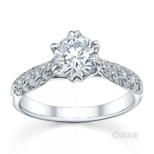 Australian Diamond Broker - Royal crown round brilliant cut diamond ring with pave set band