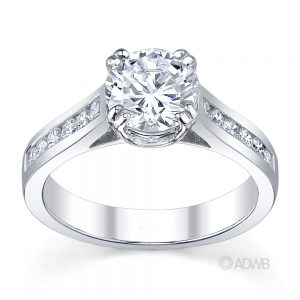 Australian Diamond Broker - Coco double claw round brilliant cut diamond solitaire ring with channel set diamond band