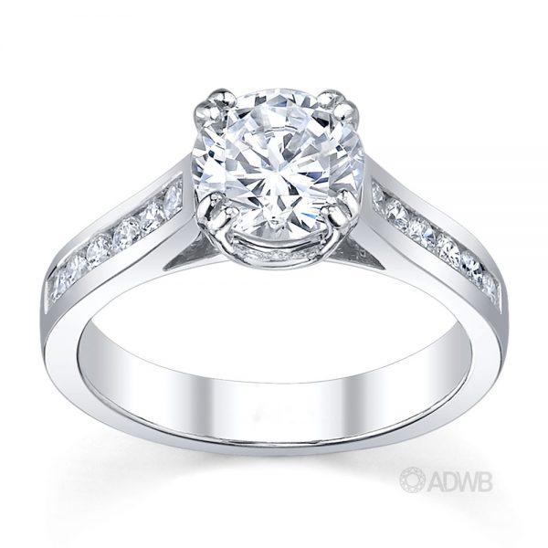 Australian Diamond Broker - Coco double claw round brilliant cut diamond solitaire ring with channel set diamond band