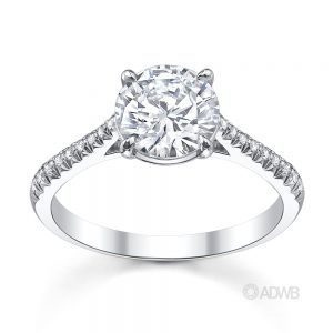 Australian Diamond Broker - Traditional round brilliant cut diamond ring with micro pave set diamond band