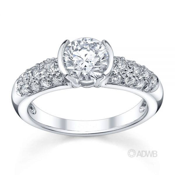 Australian Diamond Broker - Half bezel set round brilliant cut diamond solitaire ring with pave set band
