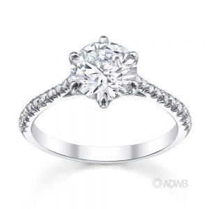 Australian Diamond Broker - Classic 6 claw round brilliant cut diamond ring with french pave set diamond band
