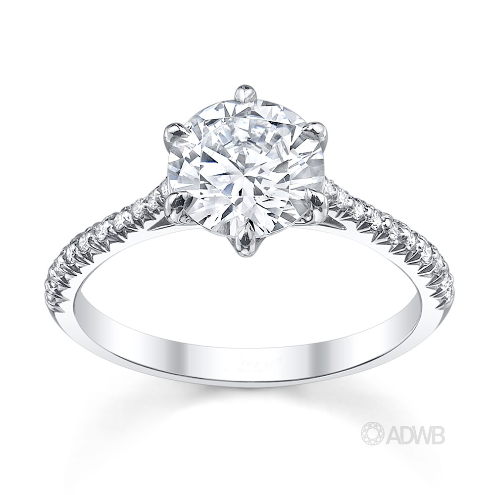Australian Diamond Broker - Classic 6 claw round brilliant cut diamond ring with french pave set diamond band