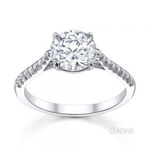 Australian Diamond Broker - Serenity round brilliant cut diamond ring with micro pave set band