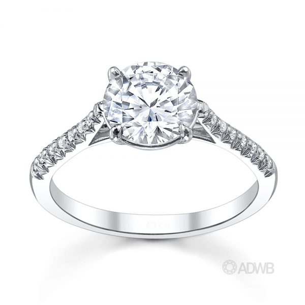 Australian Diamond Broker - Serenity round brilliant cut diamond ring with micro pave set band