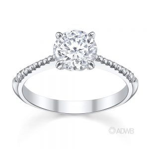Australian Diamond Broker - Emily round brilliant cut diamond solitaire ring with micro pave set diamond band