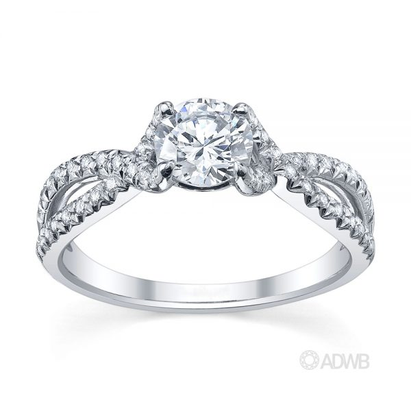Australian Diamond Broker - Sophia curved split band round brilliant cut diamond solitaire ring with pave set band