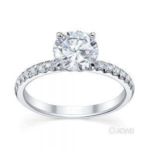 Australian Diamond Broker - Zara round brilliant cut diamond solitaire ring with pave set diamond band