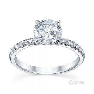 Australian Diamond Broker - Zara round brilliant cut diamond solitaire ring with pave set diamond band